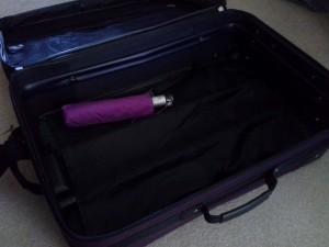 Here is my suitcase, empty except for an umbrella. What can I say? I'm a last-minute packer.